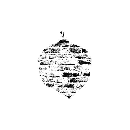 Vector textured acorn on white background