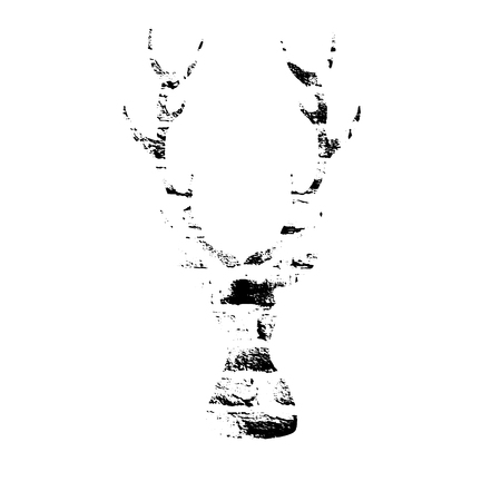 Vector textured deer, stylized imprint on bricks. Black on white isolated element for holiday cards or stamp brushes creating. It will bring depth and vintage texture to any work. 일러스트