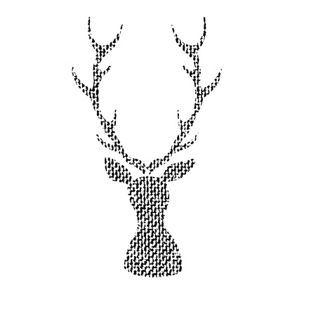 Vector textured deer, stylized imprint on fabric. Black on white isolated element for holiday cards or stamp brushes creating. It will bring depth and vintage texture to any work.