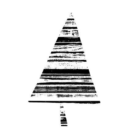 Vector textured Christmas tree, stylized imprint on wood planks. Black on white isolated element for holiday cards or stamp brushes creating. It will bring depth and vintage texture to any work.