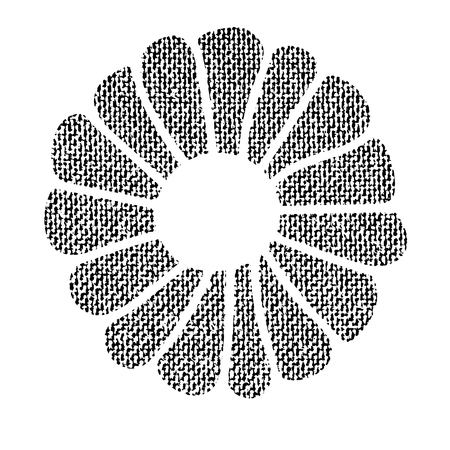 Vector textured Christmas cookie, stylized imprint on fabric. Black on white isolated element for holiday cards or stamp brushes creating. It will bring depth and vintage texture to any work.