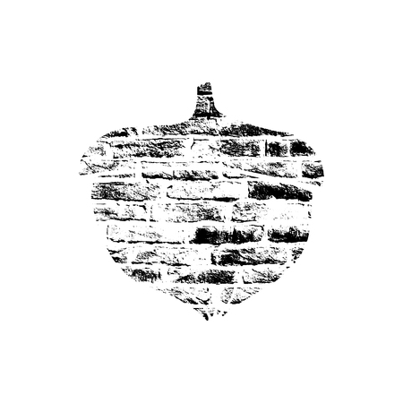 Vector textured acorn, stylized imprint on bricks. Black on white isolated element for holiday cards or stamp brushes creating. It will bring depth and vintage texture to any work.