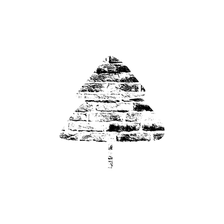 Vector textured Christmas tree, stylized imprint on bricks. Black on white isolated element for holiday cards or stamp brushes creating. It will bring depth and vintage texture to any work.