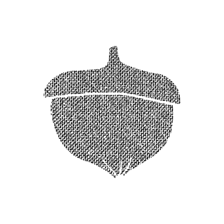 Vector textured acorn, stylized imprint on fabric. Black on white isolated element for holiday cards or stamp brushes creating. It will bring depth and vintage texture to any work.