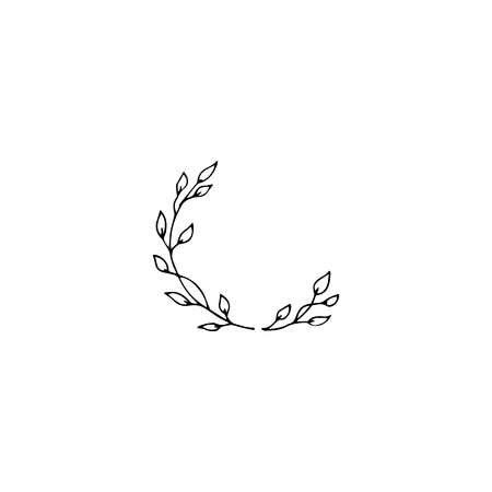 Vector hand drawn object, branch with leaves. Feminine logo element, romantic floral clipart. For business branding and identity. Black on white isolated symbol.
