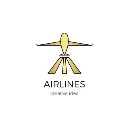 Airlines line logo template Stock Vector - 95320220