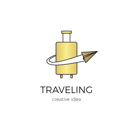 Vector thin line icon, suitcase and paper airplane. template illustration for airline company, airport or travel agency. Isolated symbol. Simple mono linear modern design with golden foil.