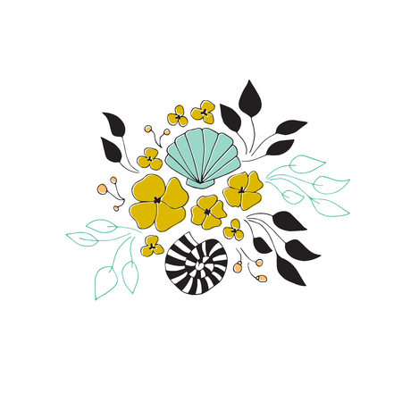 Vector sea floral bouquet. Seaweeds, flowers and shells in arrangement. For greeting cards, weddings, stationery, surface design, scrapbooking. Cute hand drawn style. Part of a large sea collection.