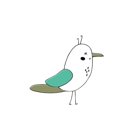 Vector hand drawn seagull vector illustration