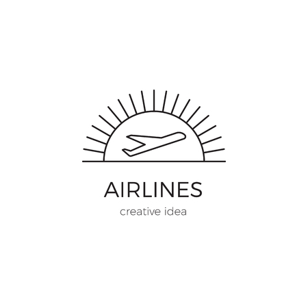 Airlines line logo template