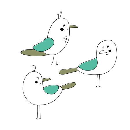 Vector set of hand drawn seagulls