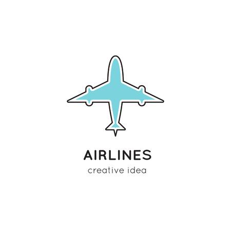 Illustrazione del modello di logo per compagnia aerea, aeroporto o agenzia di viaggi.