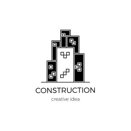 Vector thin line icon, construction logo template illustration.