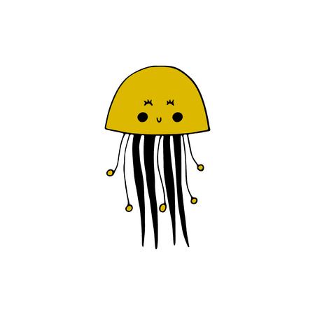 Vector hand drawn jellyfish. Ocean marine world.