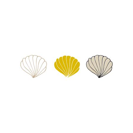 Conchas de mar dibujadas a mano por vectores. Objetos individuales aislados.