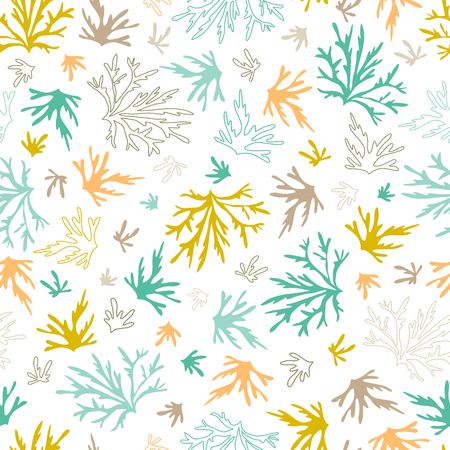 Sea seamless pattern. Underwater world, multicolored corals. Vector bright background. Can be used for wallpaper, stationery, scrapbooking, home decor and textile, fabric prints.