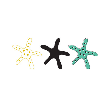 Vector hand drawn sea stars. Isolated individual objects.