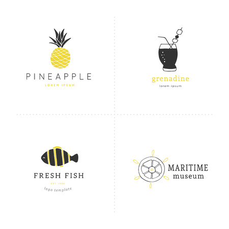 Set of vector hand drawn logo templates. Beach and sea theme. Elements for marine badges, labels, logotypes and branding business identity.
