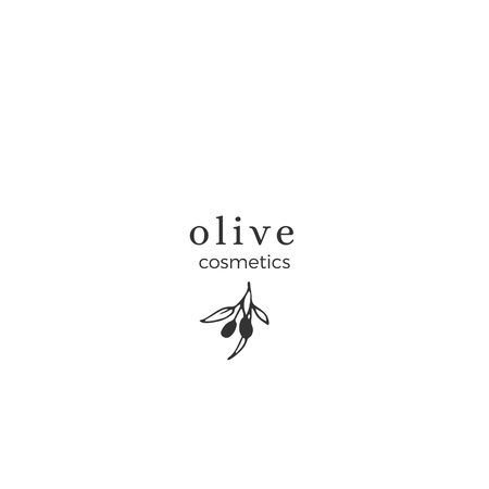 Vector floral hand drawn template in elegant and minimal style. Olive branch with leaves and berries. Black on white illustration. For badges, labels and branding business identity.