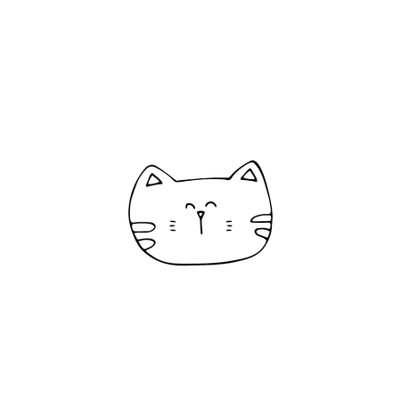 Vector hand drawn icon, head of a cat. Element for pets related business. Illustration for pet shop or cat cafe, hotel or a veterinary clinic. Domestic animals. Isolated symbol. Ilustração