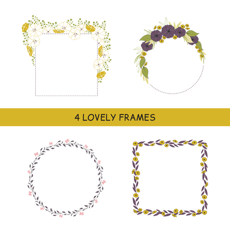 Vector set of floral hand drawn frames. Flowers and leaves in a round and square arrangements. For greeting cards, weddings, stationery, invitations, scrapbooking. Part of a large floral collection.