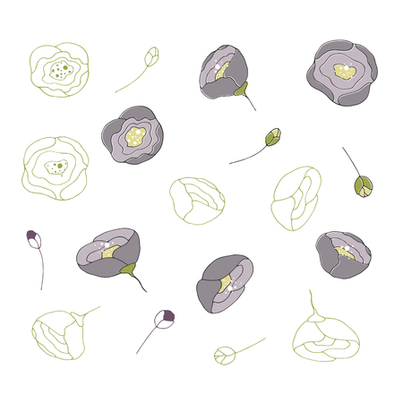 Hand drawn floral isolated objects, flowers. For greeting cards, weddings, stationery, surface design, scrapbooking. Cute hand drawn style. Part of a large floral collection. Stock Illustratie