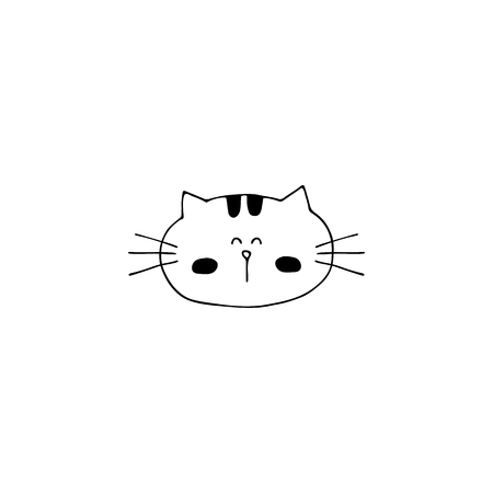 Vector hand drawn icon, head of a cat. element for pets related business. Illustration for pet shop or cat cafe, hotel or a veterinary clinic. Domestic animals. Isolated symbol. Standard-Bild - 113961232