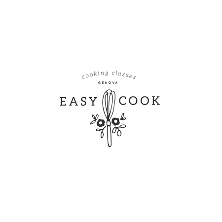Vector hand drawn logo template, whisk with flowers. Isolated symbol for business branding and identity, for food blogs and websites, for cooking classes. Kitchen and food theme.