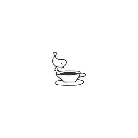 Bird on a cup of tea, element. Vector hand drawn object. Kitchen and food theme. Isolated symbol for business branding and identity, for cooking classes, food blogs and websites.