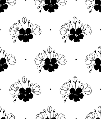 Floral seamless pattern. Elegant black and white bouquets. Can be used for wallpaper, packaging and stationery, surface textures, scrapbooking, fabric prints.