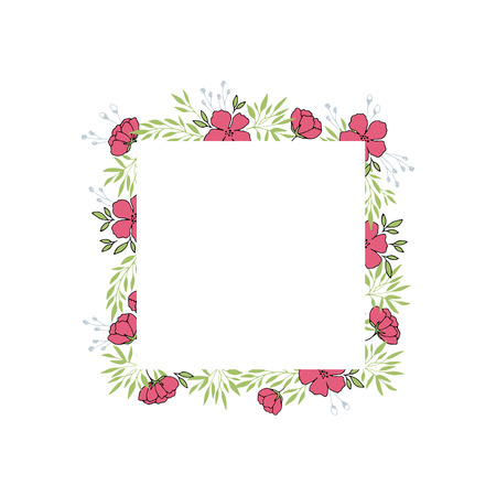 Vector floral hand drawn frame. Flowers and leaves in a square arrangement. For greeting cards, weddings, stationery, invitations, scrapbooking. Cute doodle style. Part of a big collection.