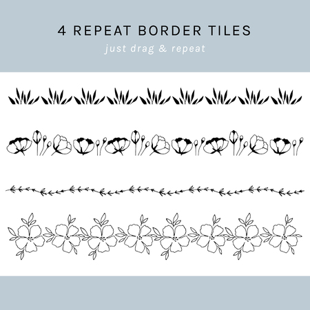 Vector set of hand drawn repeat borders. Flowers and leaves in arrangements. For greetings, weddings, stationery, surface design, scrapbooking. Hand drawn style. Part of a big collection.