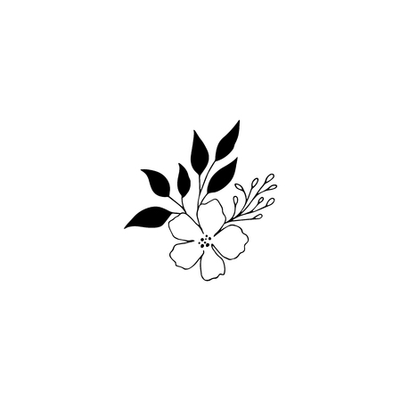 Hand drawn floral bouquet. Flowers and leaves in elegant arrangement. For greeting cards, weddings, stationery, surface design, scrapbooking. Cute hand drawn style.