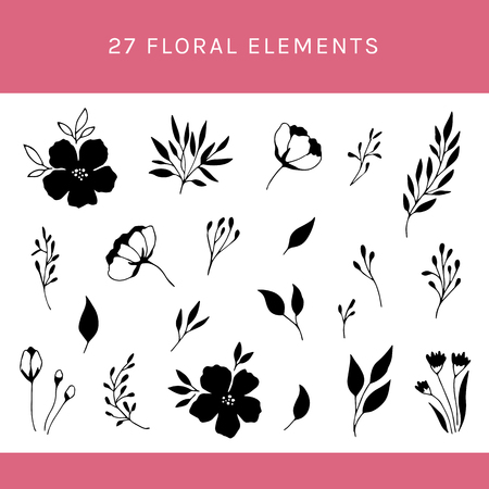 Vector set of floral elements. Flowers and leaves. For greeting cards, weddings, stationery, surface design, scrapbooking. Cute doodle hand drawn style. Part of a big collection of illustrations.