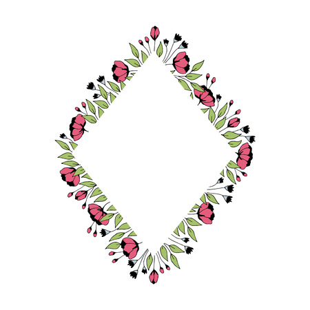 Vector floral hand drawn frame. Flowers and leaves in a diamond arrangement. For greeting cards, weddings, stationery, invitations, scrapbooking. Cute doodle style. Part of a big collection.