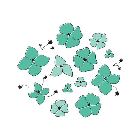Vector hand drawn flowers. Isolated individual objects. Clipart for greeting cards, weddings, stationery, surface design, scrapbooking. Part of a large sea collection.