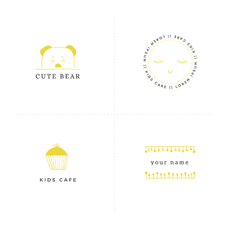 Vector set of hand drawn illustrations. Premade logo templates for children related businesses. For kids camp, club or shop, for professional nanny branding. Banque d'images - 113264226