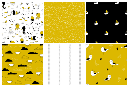 Sea seamless patterns set. Underwater world, ocean creatures. Vector backgrounds. Can be used for wallpaper, children fashion, stationery, scrapbooking, home decor and textile, fabric prints.