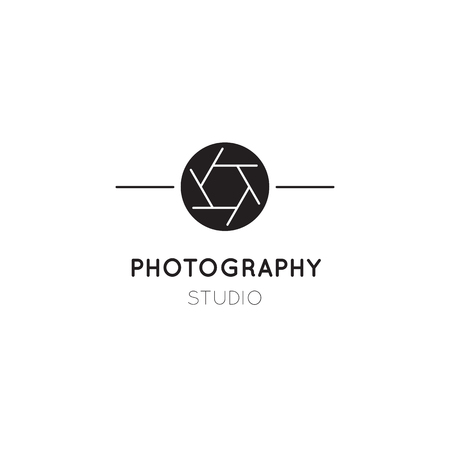 Vector thin line icon, camera shutter silhouette. Logo template illustration for photographer, photography studio, shop or school. Black on white isolated symbol. Simple modern design.