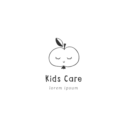 Vector premade hand drawn logo template. Cute sleepy apple with closed eyes. Element for children related business branding and identity. Black on white symbol.