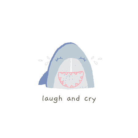 Cute shark smile with emotions. Laugh and cry. Vector hand drawn emoji. Funny illustration for messengers, social media, online chats. Summer sea theme.