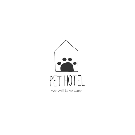 Vector hand drawn logo template for pets related business. A house. Illustration for pet hotel, shop or cafe, veterinary clinic. Domestic animals. Black on white isolated symbol. Illustration
