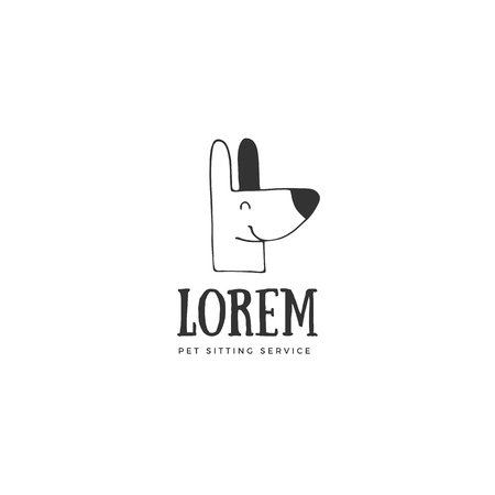 Vector hand drawn logo template for pets related business. Head of a happy dog. For pets related business. Illustration for pet shop or cafe, hotel or a dog walker, veterinary clinic.
