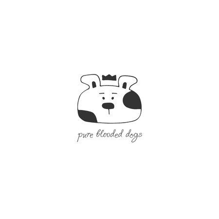 Vector hand drawn logo template for pets related business. Head of a dog. Illustration for pet shop or cafe, hotel or a dog walker, veterinary clinic. Domestic animals. Isolated symbol.