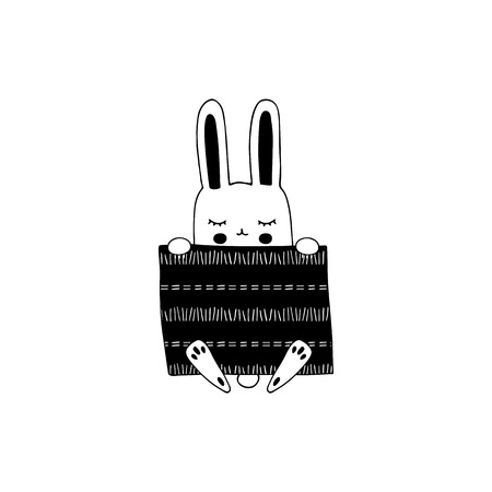 Vector hand drawn isolated element, sleepy bunny under the blanket. Cute character. Simple modern design, Scandinavian style. For kids fashion, room decoration, wall art. Part of a large collection