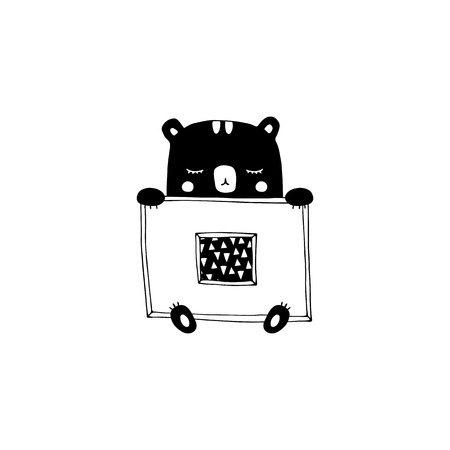 Vector hand drawn isolated element, sleepy bear. Cute character. Simple modern design, Scandinavian style, black and white. For kids fashion, room decoration, wall art. Part of a large collection Ilustração