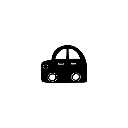 Vector hand drawn isolated element, a car toy. Simple modern design, Scandinavian style, black and white. For kids fashion, room decoration, wall art. Part of a large collection.