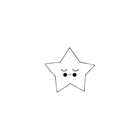 Vector hand drawn isolated element, sleepy star. Black on white. Simple decoration, wall art. Part of big collection of illustrations for kids nursery. Illustration