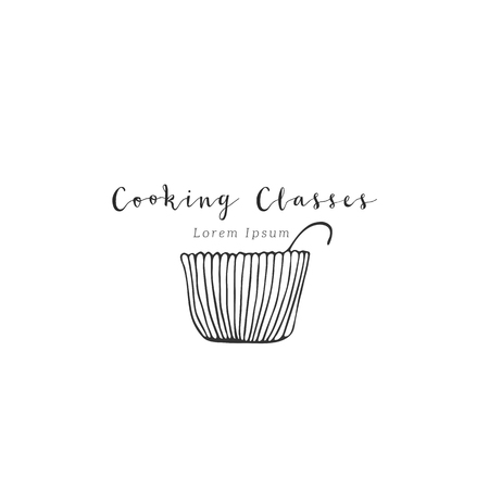 Vector hand drawn logo template, a bowl. Kitchen and food theme. Isolated symbol for business branding and identity, for food blogs and websites, for cooking classes.