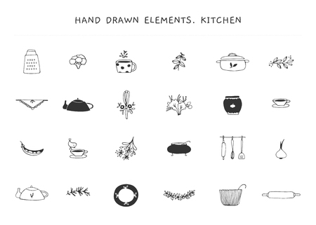 Set of vector hand drawn logo elements. Kitchen and food theme. Isolated symbols for business branding and identity, for food blogs and websites, for cooking classes and grocery stores.